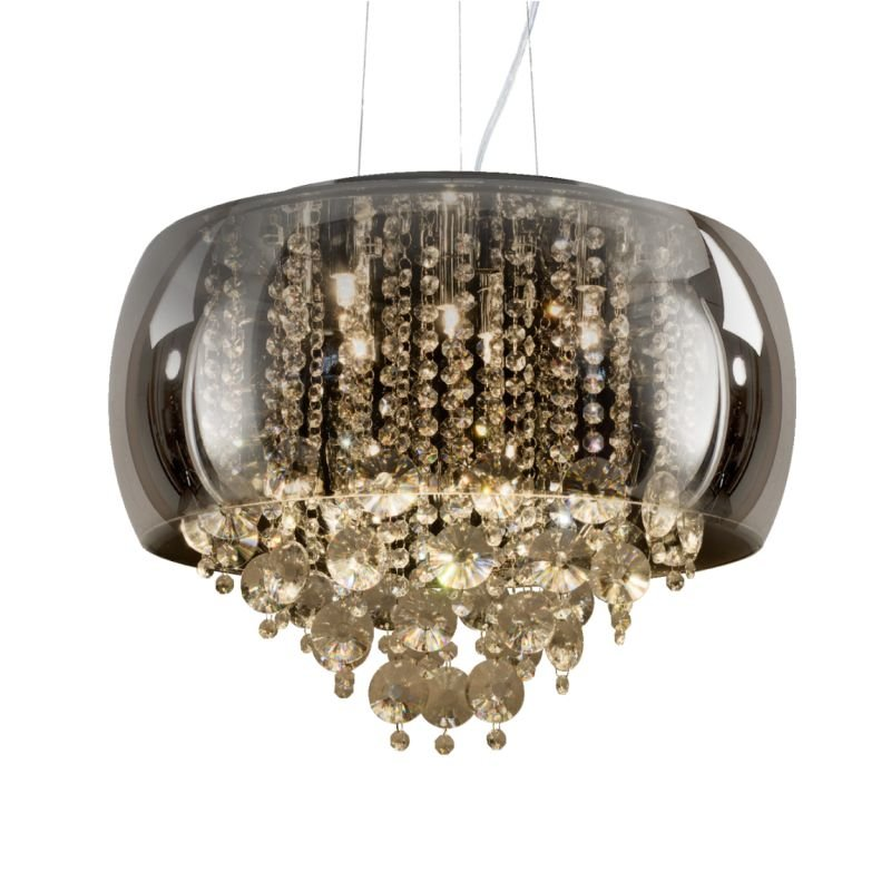 Prism-70023-052 - Rose - Smoky Glass & Crystal with Chrome 9 Light Pendant