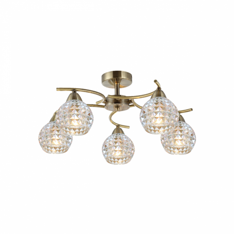 Prism-70073-052 - Crocus - Clear Glass with Antique Brass 5 Light Ceiling Lamp