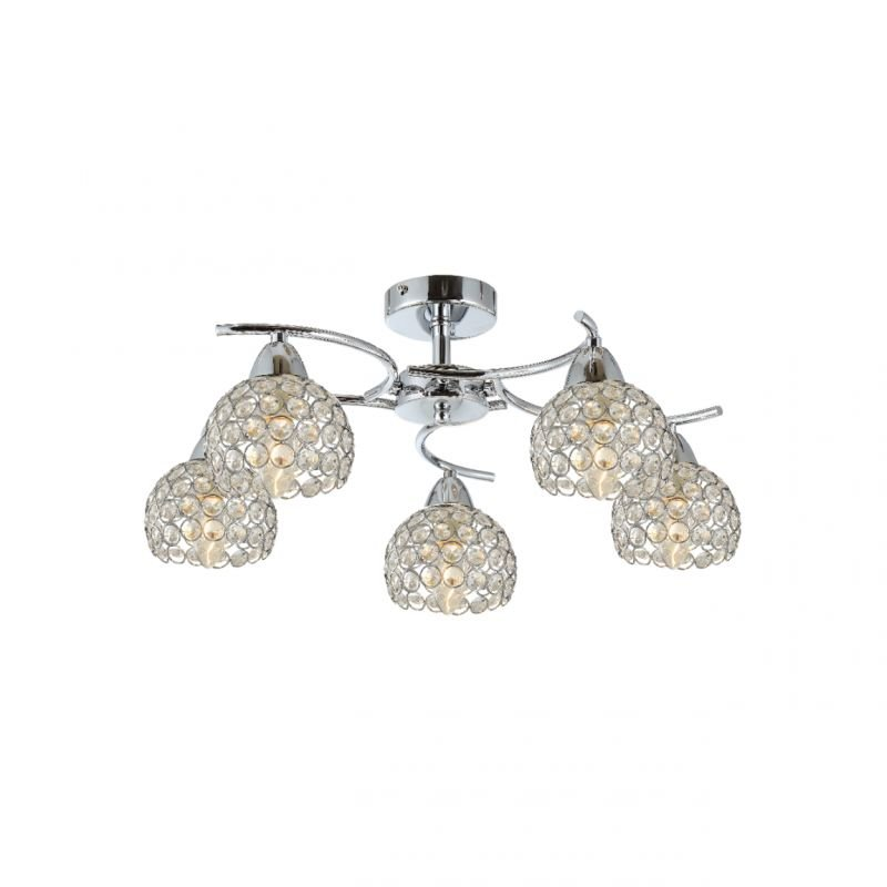 Prism-70060-052 - Aster - Crystal with Polished Chrome 5 Light Ceiling Lamp
