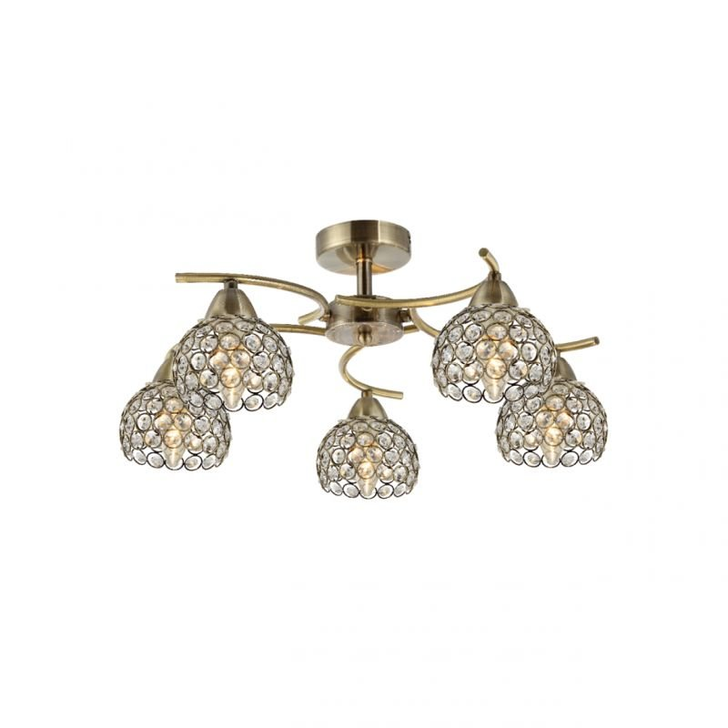 Prism-70063-052 - Aster - Crystal with Antique Brass 5 Light Ceiling Lamp