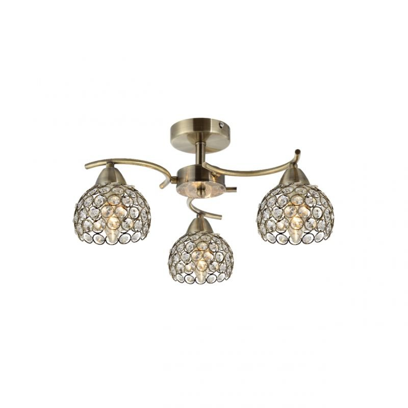 Prism-70064-052 - Aster - Crystal with Antique Brass 3 Light Ceiling Lamp