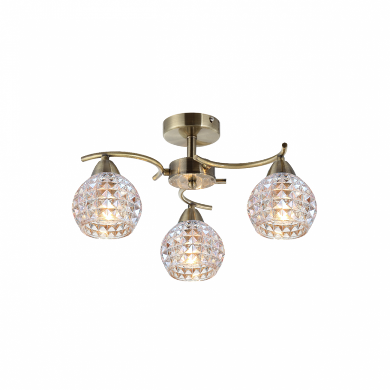 Prism-70074-052 - Crocus - Clear Glass with Antique Brass 3 Light Ceiling Lamp