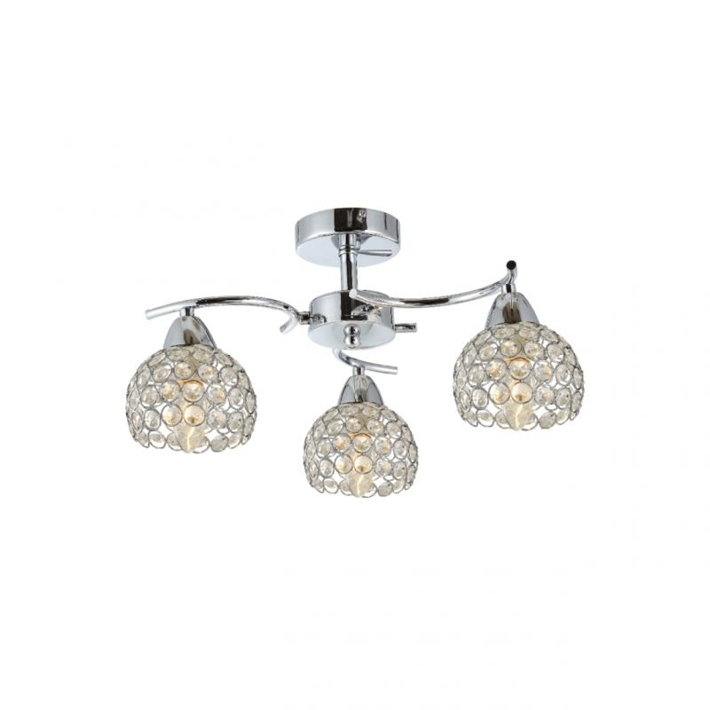 Prism-70061-052 - Aster - Crystal with Polished Chrome 3 Light Ceiling Lamp