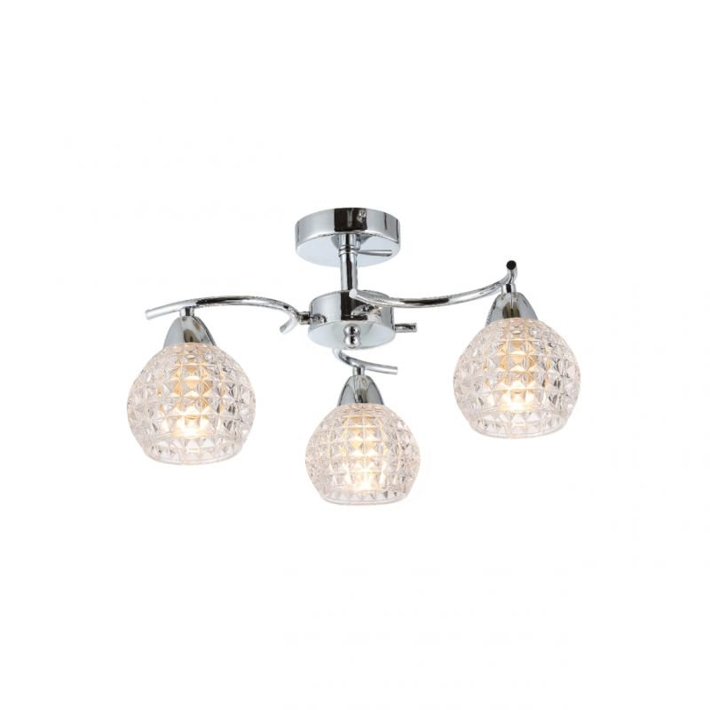 Prism-70071-052 - Crocus - Decorative Clear Glass with Chrome 3 Light Ceiling Lamp