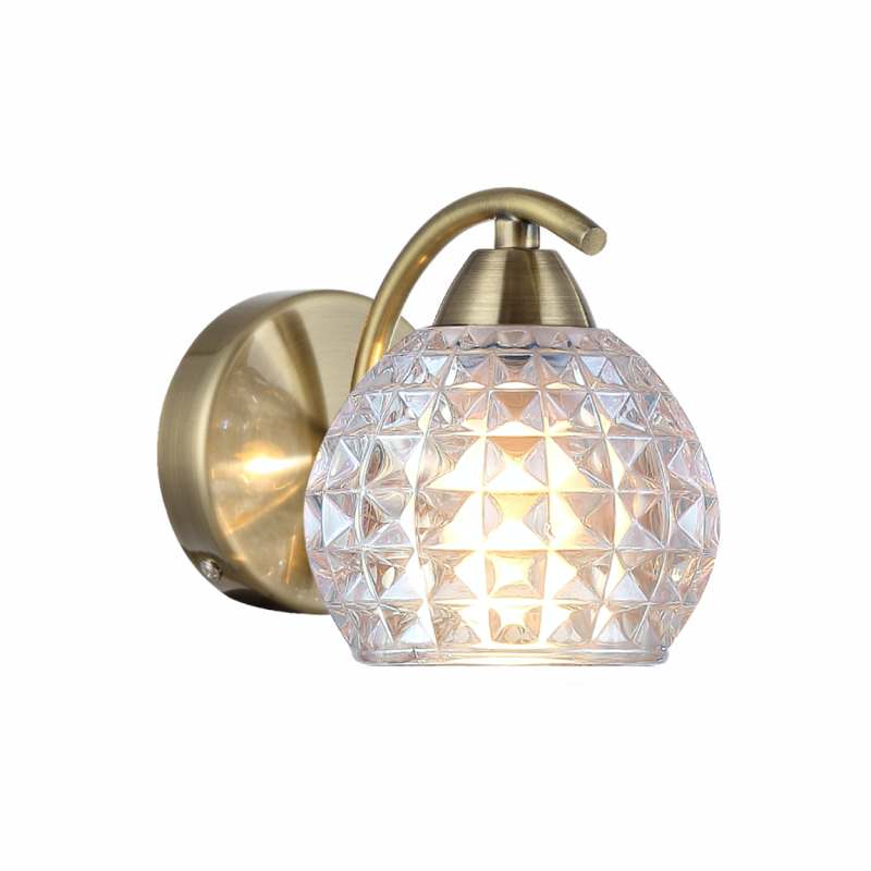 Prism-70075-052 - Crocus - Clear Glass with Antique Brass Wall Lamp