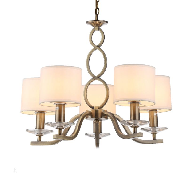 Prism-70051-052 - Tulip - White Shades with Antique Brass 5 Light Centre Fitting
