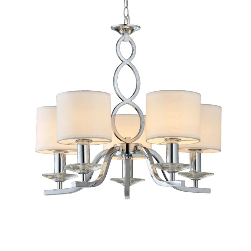 Prism-70050-052 - Tulip - White Shades with Chrome 5 Light Centre Fitting