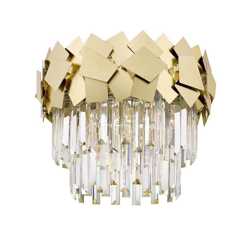 C0506-05A-B5E3 - Rome 1 - Crystal & Brushed Brass 5 Light Ceiling Lamp