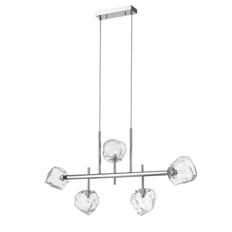 P0488-05T-F4AC - Vienna 1 - Clear Ice Glass with Chrome 5 Light over Island Fitting