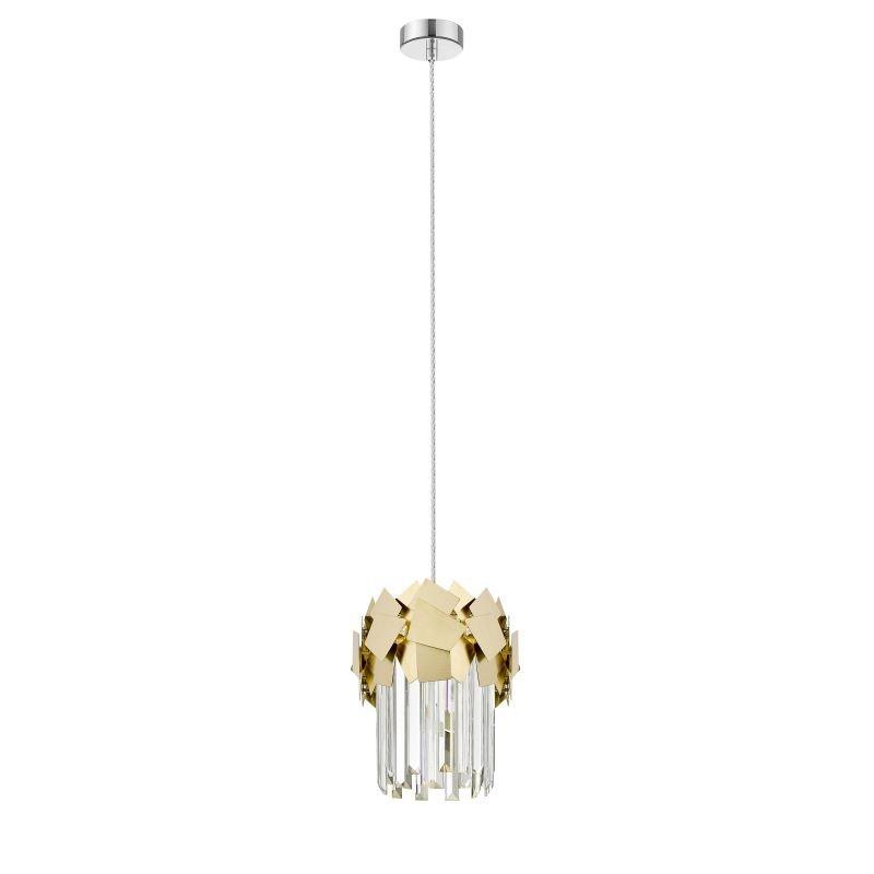 P0506-01A-F4E3 - Rome 2 - Crystal & Brushed Brass 1 Light Pendant