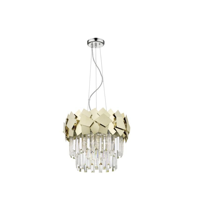 P0506-05A-F4E3 - Rome 3 - Crystal & Brushed Brass 5 Light Pendant
